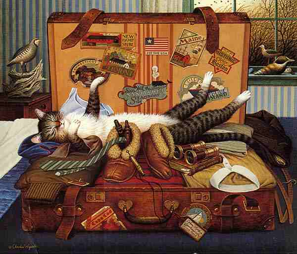Charles Wysocki - Mabel the Stowaway print of cat sleeping in a suitcase