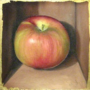 Janette Staley Still life oil painting of a red and green yellow apple in a brown box