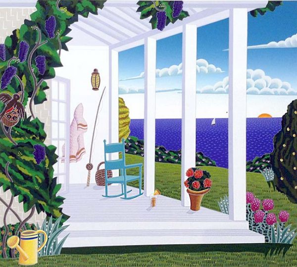 Thomas McKnight - Madaket print of porch with rocking chair overlooking ocean