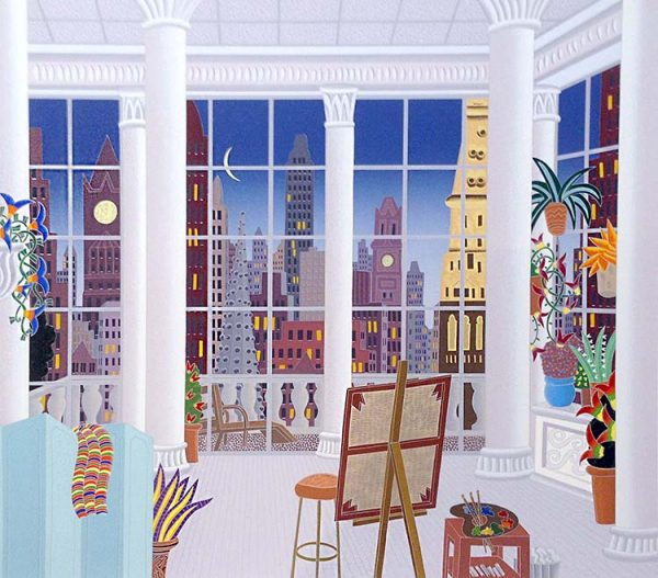 Thomas McKnight - Madison Square print of room with easel and plants overlooking New York City
