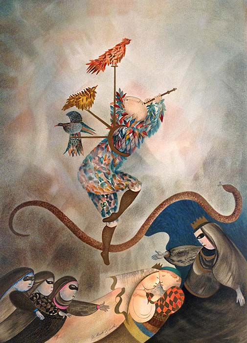 Graciela Boulanger - Magic Flute print of person wearing feathers and other fantasy characters