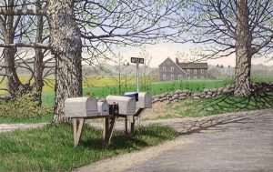 Carol Collette Etching on paper of a row of mailboxes in rural country road