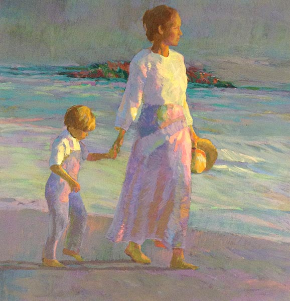 Don Hatfield - Making Footprints print of a mother holding her son's hand on a walk along the shore