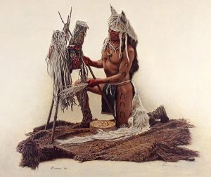 James Bama Making Horse Medicine print of native american man with horseshoe tattoos using tools