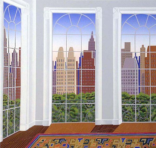 Thomas McKnight - Manhattan Ballet School print of empty room with tall windows overlooking New York City