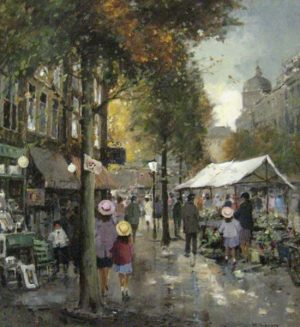 Rene Sievers - Marketplace - Painting of people in a crowded street market