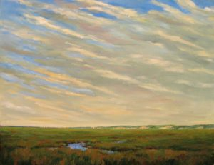 Mary Nolan oil painting of marsh at twilight in summer