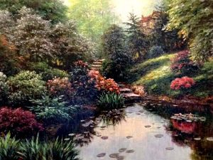 Henry Peeters - Marshall Tarn print of lush garden with steps leading to pond
