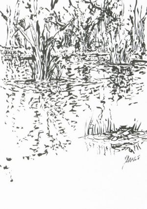 Jerry Garcia - Marshland hand signed limited edition print reeds in water black and white