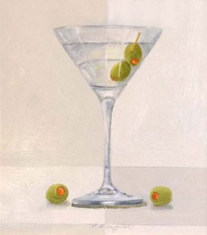 Patti Zeigler Contemporary Oil Painting Still Life Of Martini with Green Olives in Glass