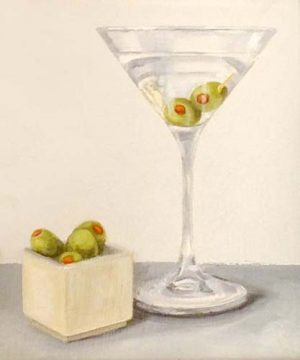 Patti Zeigler Still Life Oil Painting on Board of Martini with Green Olives