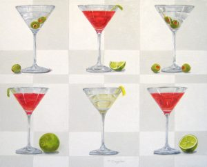 Patti Zeigler Contemporary Still-life of Martinis and Cosmos