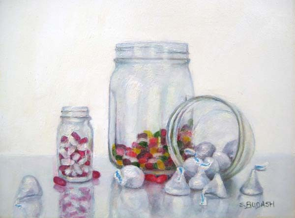Susan Budash Traditional Still life Oil Painting of Candy in Mason Jar