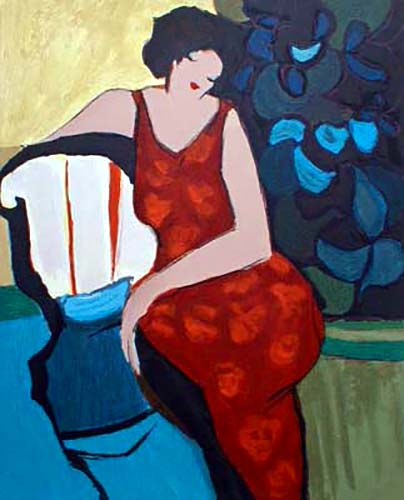 Itzchak Tarkay - Matchmaker I print of woman in red dress seated by blue flowers