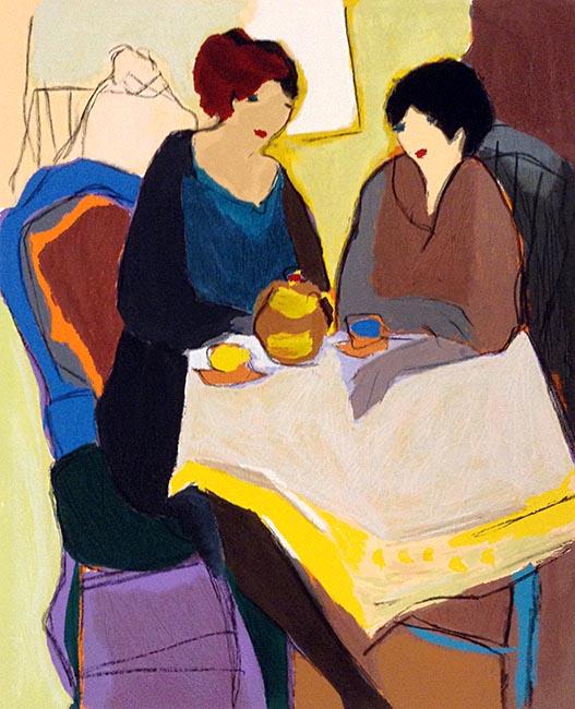 Itzchak Tarkay - Matchmaker II print of two women having tea