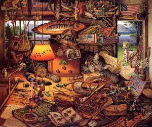 Charles Wysocki - Max in the Adirondacks print of cat lying among fishing tackle and memorabilia