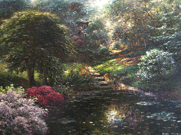 Henry Peeters painting McDonnell Afternoon of garden in woods with pond