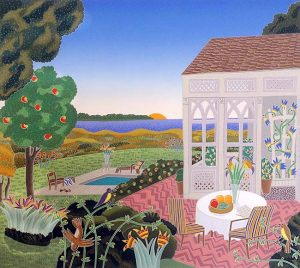 Thomas McKnight - Mecox Bay print of patio and yard with pool overlooking ocean