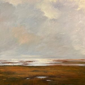 Mary Nolan Oil Painting on Canvas of grey/purple Clouds and Autumn Marsh