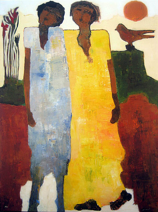 Goli Mahallati - Melody of Autumn print of two people and a perched bird