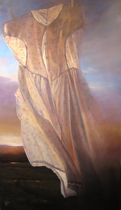 Lorena Pugh Surreal Painting of Dress Hanging on the Clothesline