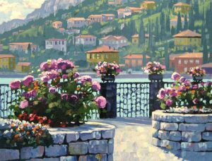 Howard Behrens - Menaggio print of courtyard with flowers facing ocean and hillside homes