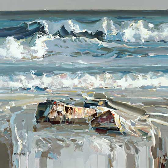 Josef Kote limited edition giclee on canvas of a seascape mesmerizing blue wave painting with rocks and ocean