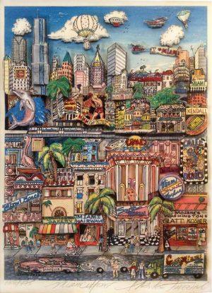 Charles Fazzino - Miami Heat colorful 3D serigraph on paper of Miami Florida
