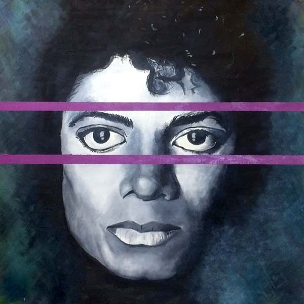 Jack Clifford Oil Portrait Painting of Hip Hop Pop Singer Michael Jackson in Grayscale with Purple Concept