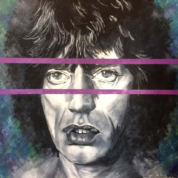 Jack Clifford Oil Portrait Painting of Rock Musician Singer Mick Jagger in Grayscale with Purple Concept
