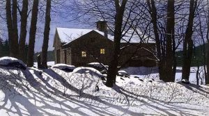 Carol Collette Etching of a house lit by the moon on farm in snow with shadows at night