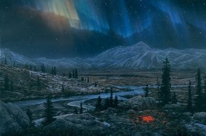 Stephen Lyman - Midnight Fire print of Alaskan valley with mountains and river with Northern Lights in the sky