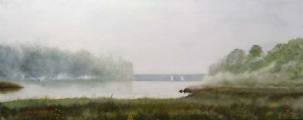 Ken Northup - Misty Day in Yarmouth - Painting of foggy wetlands