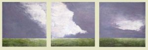 Leah Mitchell Triptych with Purple Sky and White Clouds over Green Marsh