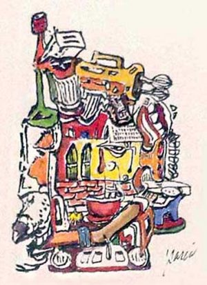 Jerry Garcia - Mix Master hand signed print litho/paper pile of household items