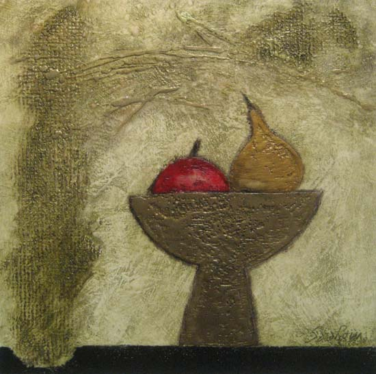 Painting of an apple and a pear in a fruit bowl