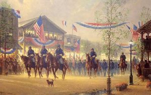 G Harvey - Moment of Glory print of civil war soldiers on horses returning home in Union