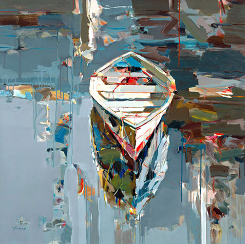 Josef Kote giclee on canvas of boat on water