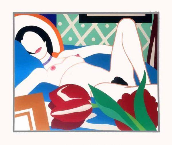Tom Wesselmann: Monica With Tulips (44x53 serigraph screen print)