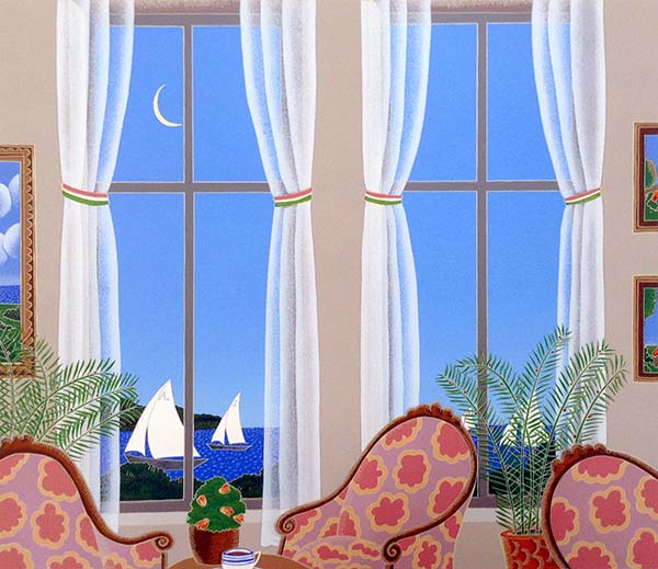 Thomas McKnight - Montauk print of room with armchairs overlooking ocean with sailboats