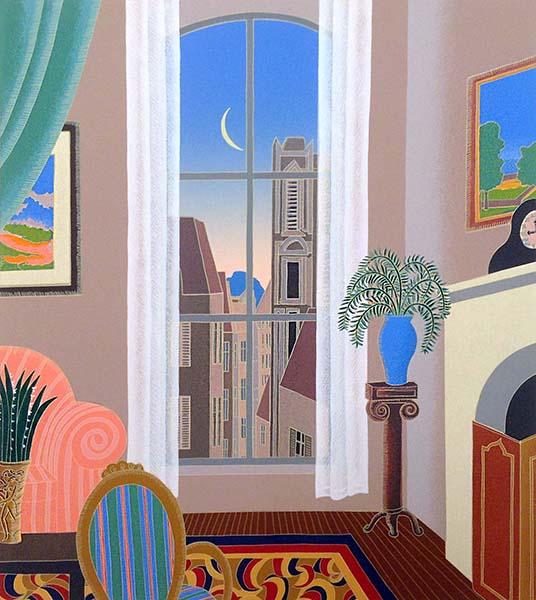 Thomas McKnight - Montparnasse print of living room overlooking city and crescent moon