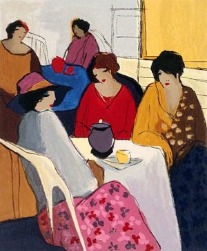 Itzchak Tarkay - Montparnasse I print of two groups of women having tea