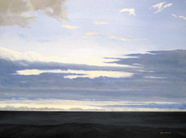 Ken Northup Oil Painting of Horizon Line with Blue Sky Clouds and Dark Navy Water