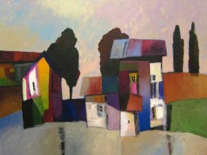 Downe Burns Whimsical Landscape Painting with Purples and Greens
