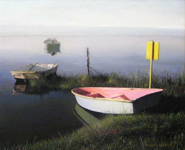 Robert Bolster - Morning Burn - Painting of boats drifting out to sea