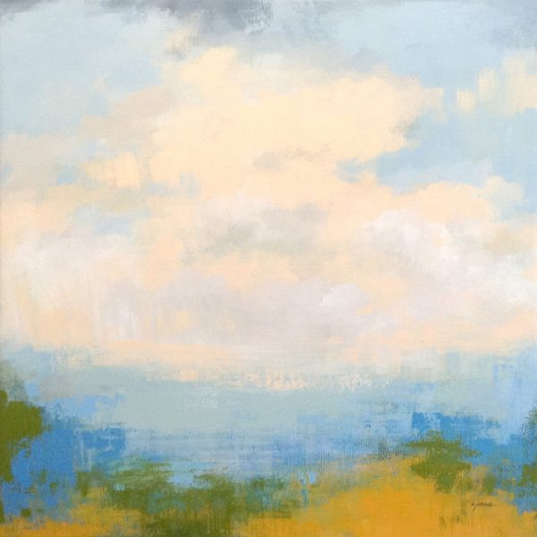 Carlyn Janus Contemporary Abstract Landscape Seascape Blue and White Pink Ochre Mustard