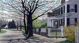 Carol Collette Etching of a house on a sunny street with tree in spring with shadows