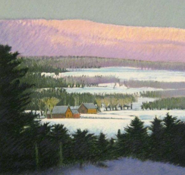 Sandy Wadlington Limited Edition of Purple Mountain in Snow and Green Trees