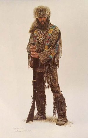 James Bama - Mountain Man Dan print of a man with a rifle dressed for hunting