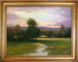 Dennis Sheehan Oil painting on canvas of a Mountain Meadow with Green Grass and Sunset